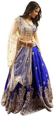 blue art_silk embroidered lehenga with dupatta