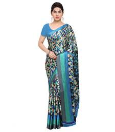 Buy blue printed crepe fashion crepe sarees with blouse crepe-saree online