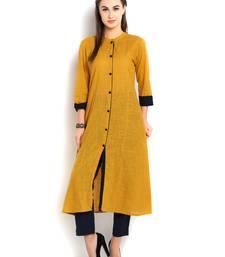 Buy indibelle yellow solid cotton slub front cut kurta wedding-season-sale online