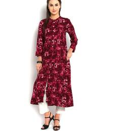 Buy indibelle purple abstract printed rayon A-Line kurta kurtas-and-kurti online