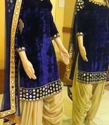 Buy Navy blue mirror work velvet salwar punjabi-suit online