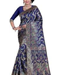 Buy Blue woven banarasi silk saree with blouse hand-woven-saree online