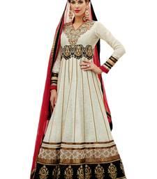 Buy Multicolor Ambroidered Banarasi Khadi Semistiched anarkali-salwar-kameez online