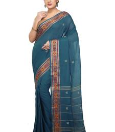 Buy Blue woven cotton saree  traditional-saree online