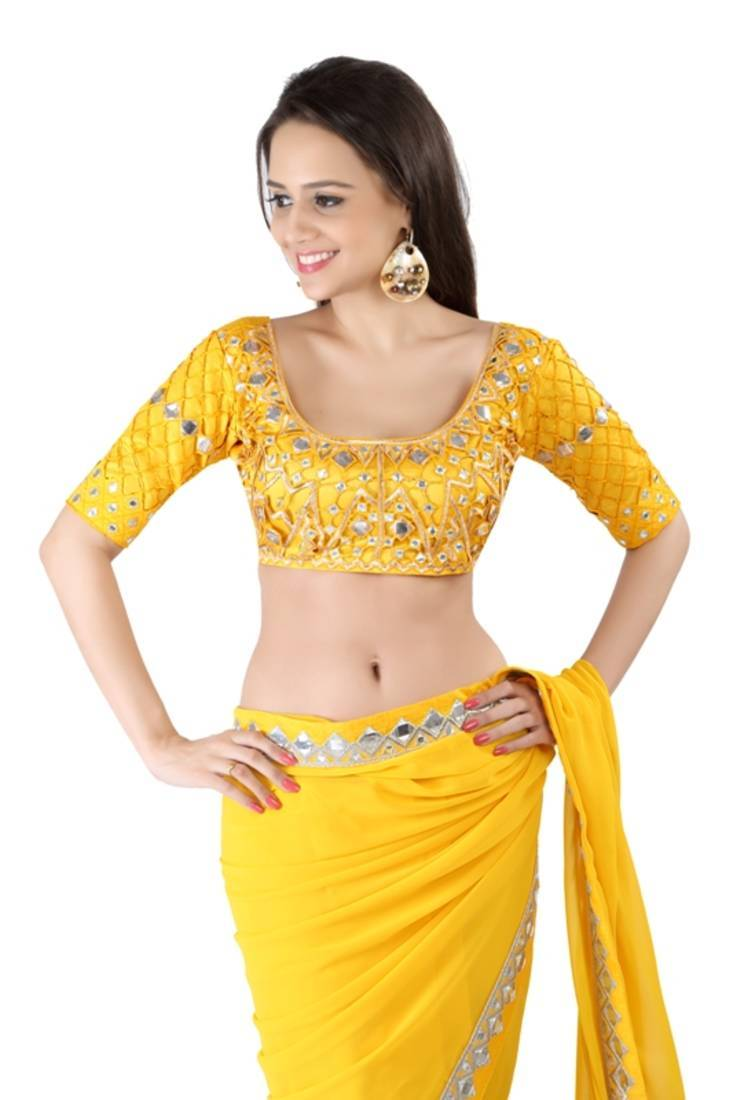 Buy Yellow Georgette Designer Heavy Mirror Work With