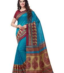 Buy Turquoise printed south silk saree with blouse south-indian-saree online