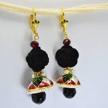 Meenakari Rose Earring Vibrant Black