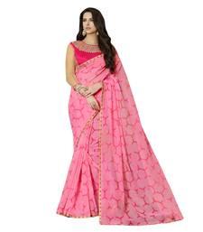 Buy pink printed cotton saree with blouse cotton-saree online