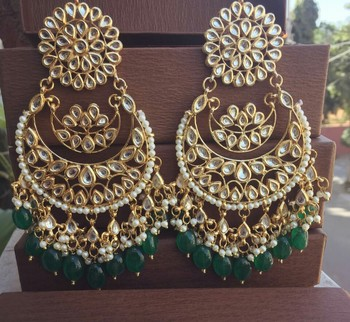 Green Kundan Chandbali Earrings