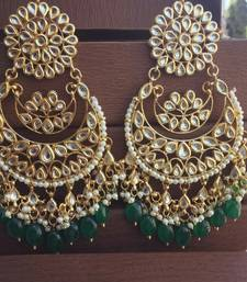 Buy Green Kundan Chandbali Earrings Earring online