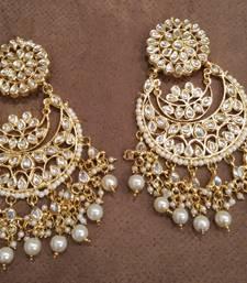 Buy White Kundan Chandbali Earrings Earring online