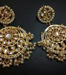 Buy Aisha White Kundan Chandbali Earrings Earring online