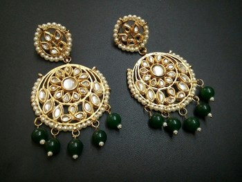 Aisha Green Kundan Chandbali Earrings