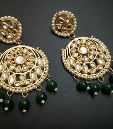 Buy Aisha Green Kundan Chandbali Earrings Earring online