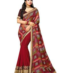 Buy multicolor embroidered faux georgette saree with blouse Woman online