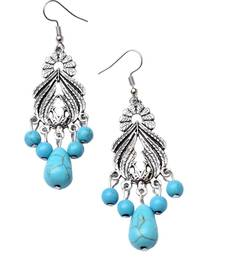 Buy GiftPiper Turquoise & Silver Alloy Danglers Earring online