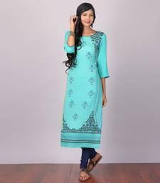 Buy Aurelia Green Straight Viscose stitched kurti long-kurtis online