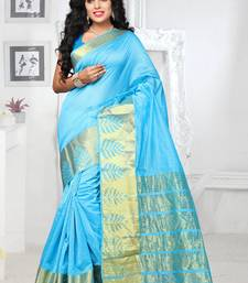 Buy Light blue hand woven georgette saree with blouse printed-saree online