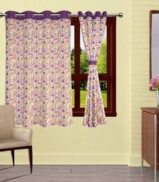 Buy Purple Rain Printed Cotton Curtains with 8 Eyelets & Plain Tiebacks for Windows (Single Pc) other-home-accessory online