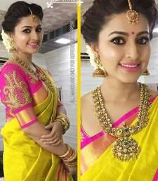Buy Yellow plain chanderi saree with blouse chanderi-saree online