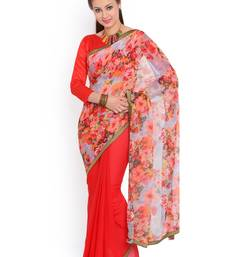 Buy Red woven chiffon saree with blouse half-saree online