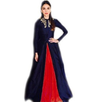 Blue embroidered silk semi-stitched gown