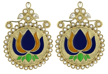 Statement large lotus flower blue yellow stud earring for women