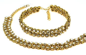 antique traditional gold ethnic kundan look  payal anklet pair