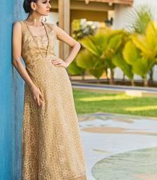 Buy Cream embroidred Taffeta silk embroidered-kurtis embroidered-kurti online