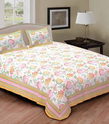 Buy multi colour floral printed cotton double bed sheet with pillow cover bed-sheet online