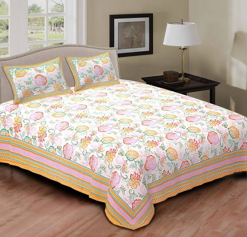 Buy Multi Colour Floral Printed Cotton Double Bed Sheet