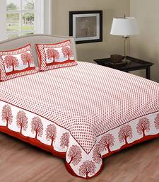 Buy red and  white  printed cotton double bed sheet with pillow cover bed-sheet online