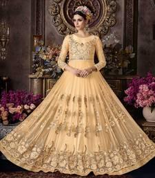 Buy Cream embroidered net salwar wedding-salwar-kameez online