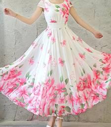 Buy Pink printed stitched georgette-kurtis georgette-kurti online