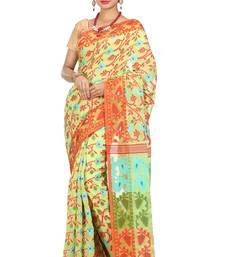 Buy Green hand woven silk cotton saree  jamdani-saree online