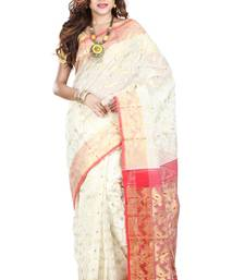 Buy White hand woven silk cotton saree  jamdani-saree online