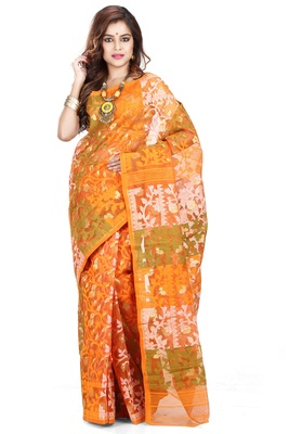 Mustard hand woven silk cotton saree