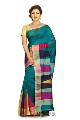 Teal hand woven silk cotton saree with blouse