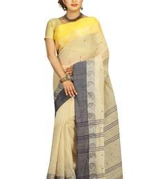 Buy Cream hand woven cotton saree  handloom-saree online