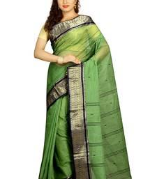 Buy Green hand woven cotton saree  handloom-saree online