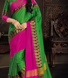 Buy Green plain silk saree with blouse south-indian-saree online