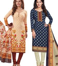 Buy Multicolor printed synthetic salwar with dupatta salwar-combo online