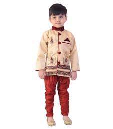Buy beige denim salwar embroidered kids  sherwani boys-sherwani online