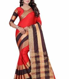 Buy Red printed cotton saree with blouse printed-saree online