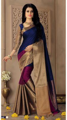Black plain silk saree with blouse