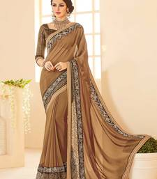 Buy Brown embroidered jacquard saree with blouse wedding-saree online
