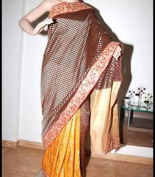 Buy orange and black zari work brocade partly pallu designer saree without blouse brocade-saree online