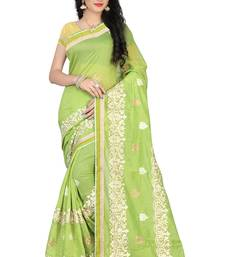 Buy Green embroidered cotton saree with blouse cotton-saree online