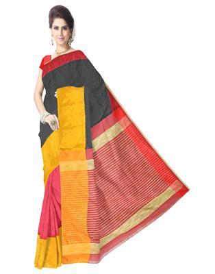 GiftPiper Bengal Handloom Cotton Silk Saree with Ghicha Pallu- Multicolored