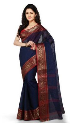 GiftPiper Bengali Tant Saree- Blue & Red
